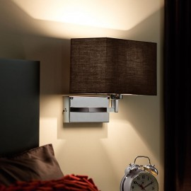 Piccolo Black Cotton Mix & Polished Chrome Wall Light