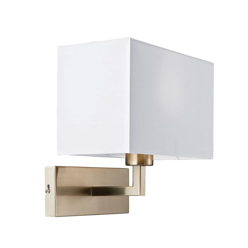 White Dimmable Wall Lights : Piccolo White Cotton Mix & Satin Nickel Wall Light