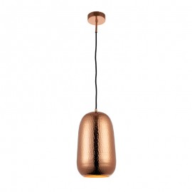 Endon Arbutus Shiny Dome Shaped Hammered Antique Copper Pendant Light