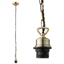 Endon Antique Brass Cable Set Chain With E27 Lamp Holder