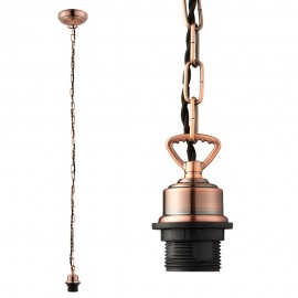 Endon Antique Copper Cable Set Chain With E27 Lamp Holder