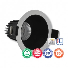 Ansell Bell FirestayLED 8W Baffled Anti-Glare COB LED Downlight 3000K Matt White