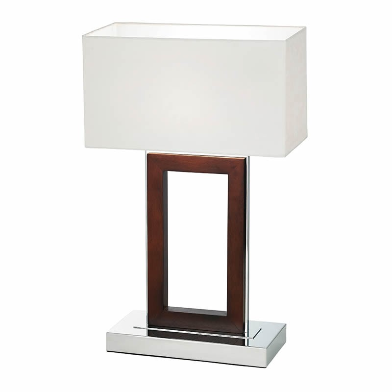 portal dark wood chrome table light. Black Bedroom Furniture Sets. Home Design Ideas