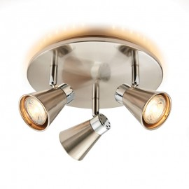 Hyde Satin Nickel LED 3 Light Round Spotlight
