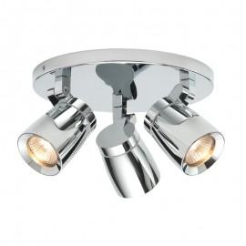 Knight 3 Light Round Polished Chrome IP44 Plate Spotlight
