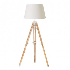 Endon Tripod Floor Light Teak Wood & Nickel Base Only