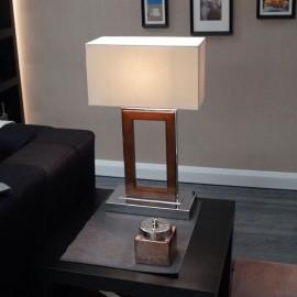 Portal Dark Wood & Chrome Table Light