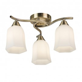 Alonso 3 Light Semi Flush Antique Brass Finish Ceiling Light