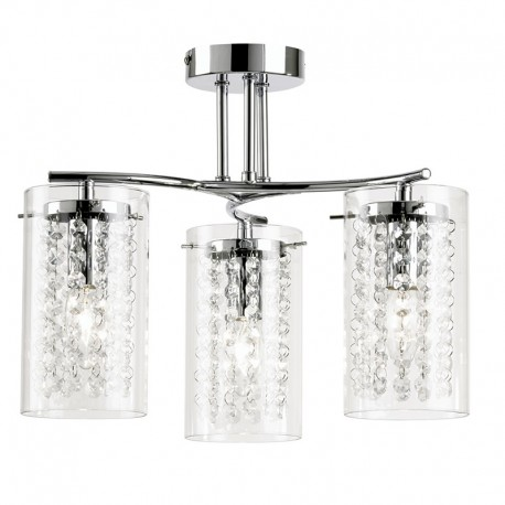 Alda 3 Light Semi Flush Polished Chrome Ceiling Light