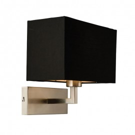 Piccolo Black Cotton Mix & Satin Nickel Wall Light
