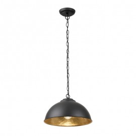 Endon Colman Matt Black Pendant With Gold Leaf Inner