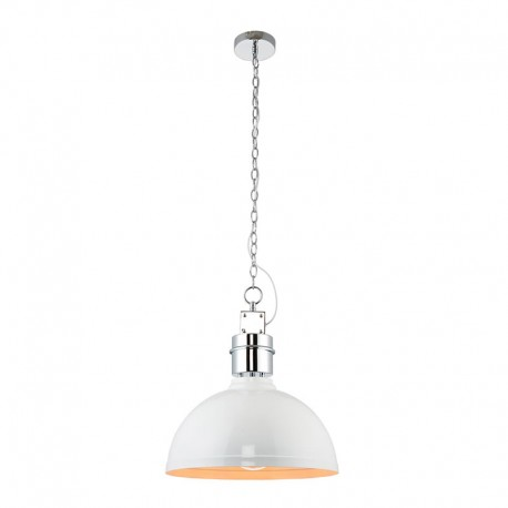 Collingham White Gloss Pendant With Satin Chrome Trim