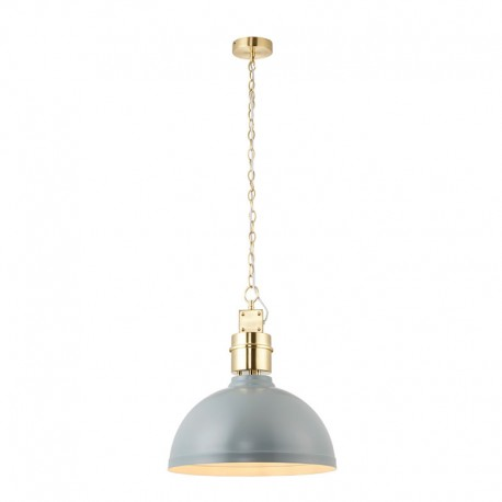 Collingham Satin Grey Pendant With Satin Chrome Trim