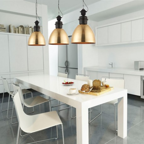 Ford Brass Effect Industrial Style Pendant Light