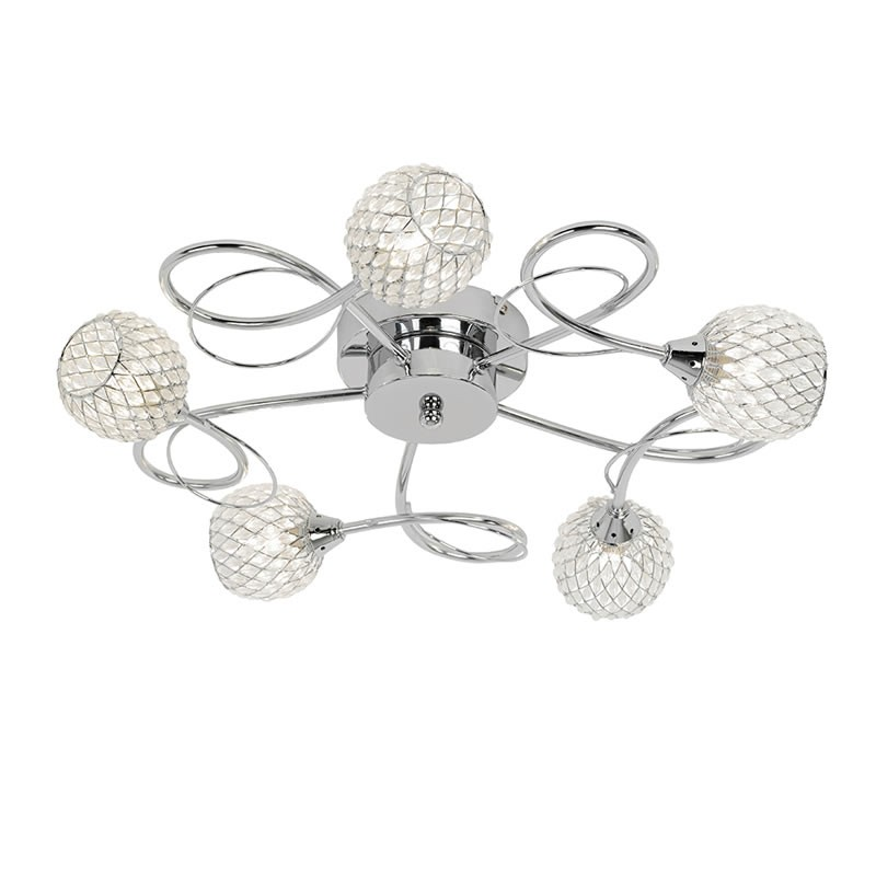 Aherne 5 Light Flush Dimmable Ceiling Light