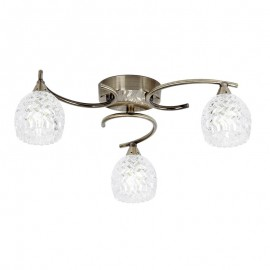 Endon Boyer 3 Bulb Antique Brass Ceiling Light