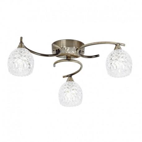 Endon Boyer 3 Bulb Antique Brass Ceiling Light