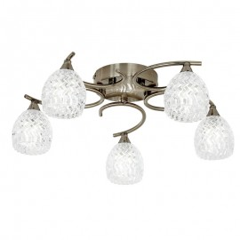 Endon Boyer 5 Bulb Antique Brass Ceiling Light