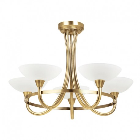 Cagney 5 Light Antique Brass Effect Ceiling Light