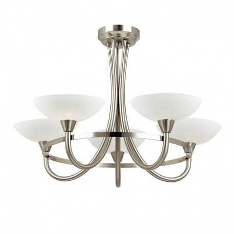 Cagney 5 Light Satin Chrome Effect Ceiling Light