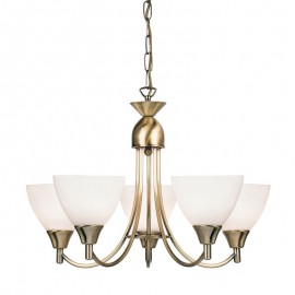 Endon Alton 5 Light Antique Brass Pendant Light