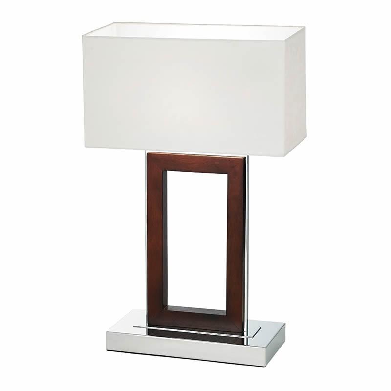 Portal Dark Wood Amp Chrome Table Light