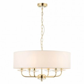 Endon Nixon 6 Light Brass Effect Ceiling Pendant Light