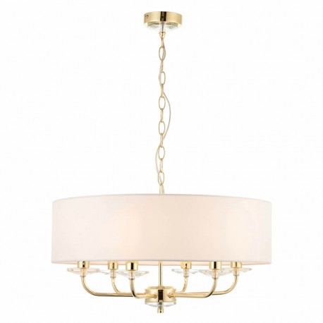 Nixon 6 Light Brass Effect Ceiling Pendant Light