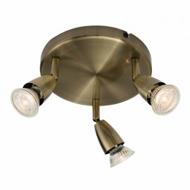 Endon Amalfi Antique Brass 3 Light Round Ceiling Spotlight