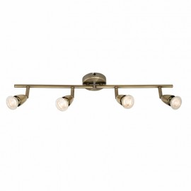 Endon Amalfi Antique Brass Effect 4 Light Bar Ceiling Spotlight