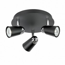 Civic Modern Round Black & Chrome 3 Light Spotlight