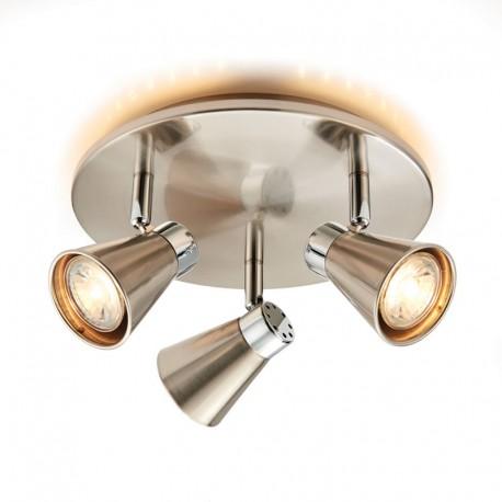 Hyde Satin Nickel LED 3 Light Round Spotlight