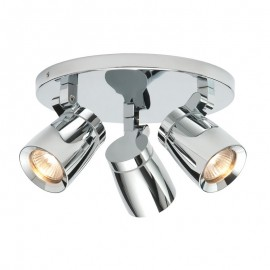 Endon Knight 3 Light Round Polished Chrome IP44 Plate Spotlight