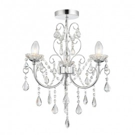 Endon Tabitha 3 Light Clear Crystal Glass IP44 Ceiling Light
