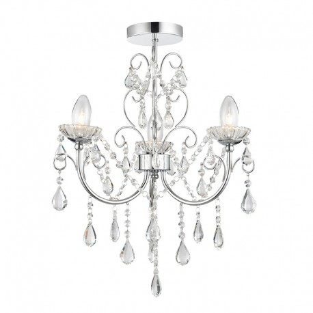 Tabitha 3 Light Clear Crystal Glass IP44 Ceiling Light