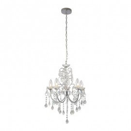Tabitha 5 Light Clear Crystal Glass IP44 Pendant
