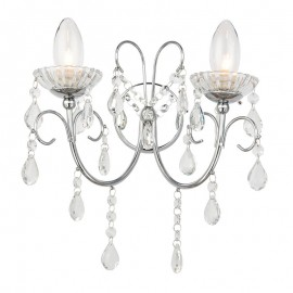 Tabitha 2 Light Clear Crystal Glass IP44 Wall Light