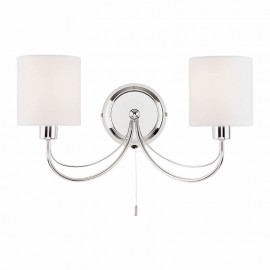 Phantom Polished Chrome Twin Wall Light With White Shades