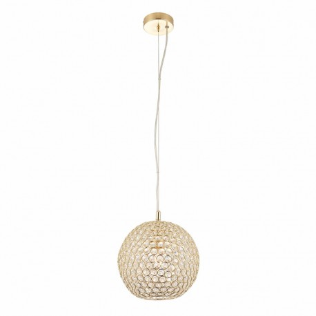 Claudia Round Intricate Brass Plated Pendant With Crystal Detail