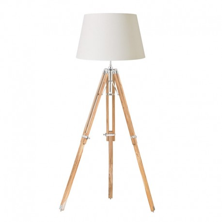Tripod Floor Light Teak Wood & Nickel Base Only