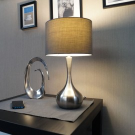 Endon Piccadilly Touch Satin Nickel Plate Table Lamp