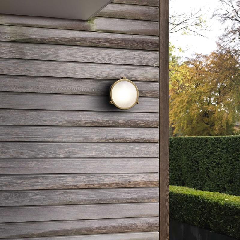 Astro Malibu Round Antique Brass Outdoor Wall Light 7969