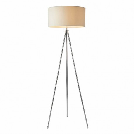 Tri Floor Chrome Lamp With Ivory Linen Faux Shade