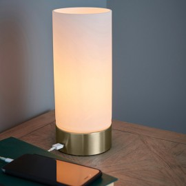 Dara Brass Table Lamp With USB Port