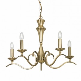 Kora Antique Brass 5 Light Chandelier